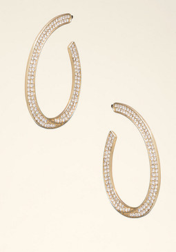 bebe Crystal Oval Hoops