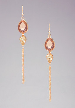 bebe Teardrop Fringe Earrings