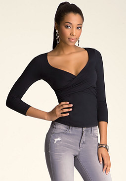 Wrap V Top at bebe