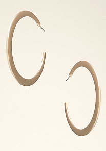 Shiny Flat Hoop Earrings at bebe
