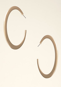 bebe Flat Shiny Hoop Earrings��