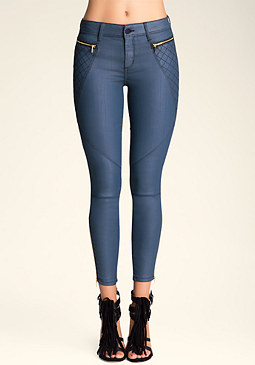 Moto Quilt Coated Jeans at bebe