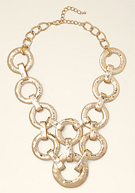 bebe Textured Disc Bib Necklace