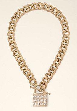 bebe Crystal Lock Necklace