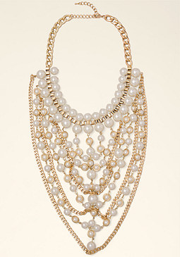 bebe Pearl Bib Necklace