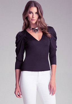 bebe Draped V Neck Top