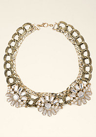 bebe Crystal Flower Necklace