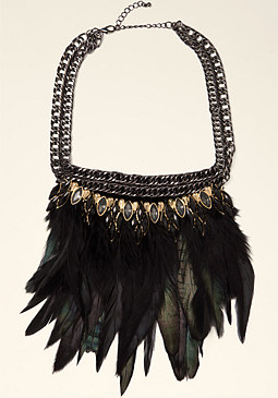 bebe Feather Statement Necklace