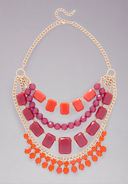 Geometric Gem Necklace at bebe