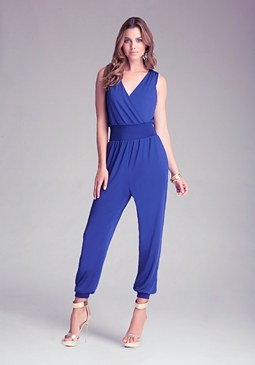 Petite V-Neck Jumpsuit at bebe