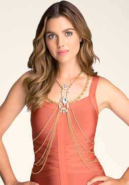 bebe Crystal Drape Body Chain