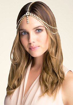 bebe Crystal Draped Head Chain