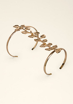 Metal Leaf Double Cuff at bebe