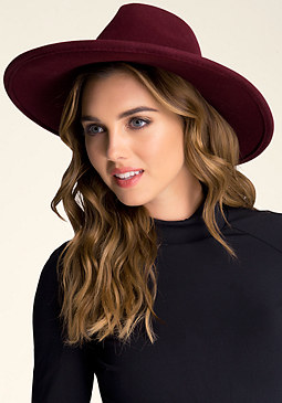 Faux Suede Trim Floppy Hat at bebe