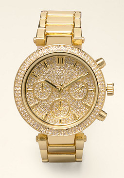bebe Rhinestone Face T Watch