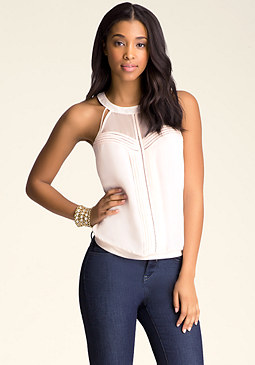 bebe Pintuck Circle Neck Top
