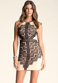 bebe Angled-Lace Dress