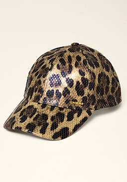 bebe Faux Leather Baseball Cap