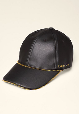 Zip Faux Leather Cap at bebe