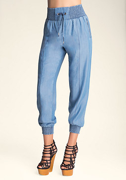 DRAWSTRING CHAMBRAY PANTS at bebe