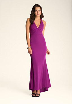bebe Sleeveless T-Strap Long Dress