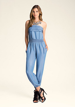CHAMBRAY JUMPSUIT at bebe