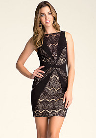 bebe Sheer Lace Dress