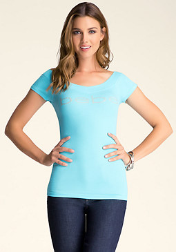 bebe Logo Double V-Neck Tee