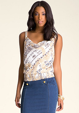 bebe Ribbon Chain Trim Top