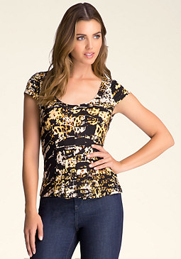 bebe Pleated Peplum Top