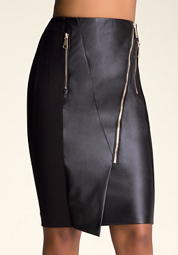 Mara Faux Leather Skirt at bebe