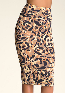 Petite Print Midi Skirt at bebe