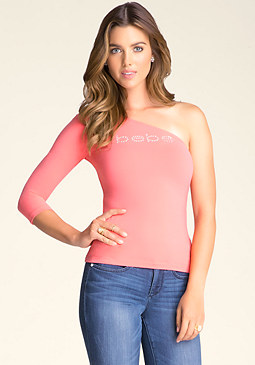 bebe One-Shoulder Logo Top