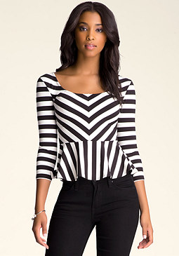 bebe Scoopneck Peplum Top