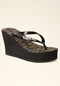 bebe Logo High Wedge Flip-Flop