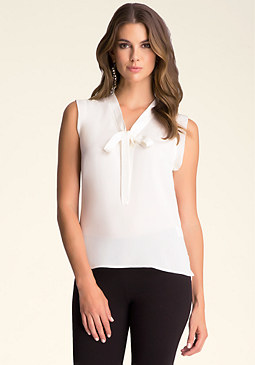 bebe Tie Neck Sleeveless Blouse