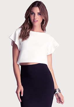 bebe Dramatic Sleeve Crop Top
