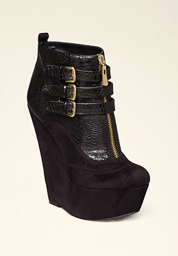 bebe Liona Buckle Wedge Booties