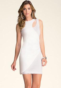 bebe Mesh Underlay Dress