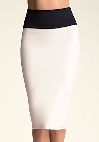 bebe Colorblock Midi Skirt