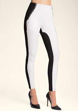 bebe Colorblock Moto Leggings