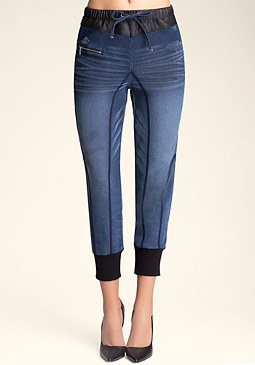 bebe Denim Look Jogger Pants