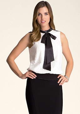 bebe Stone & Bow Lace Top