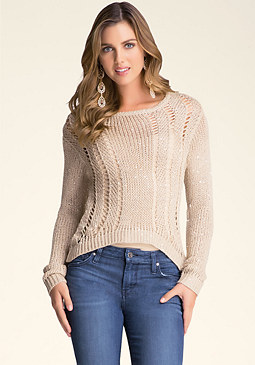 bebe Open Stitch Sequin Sweater