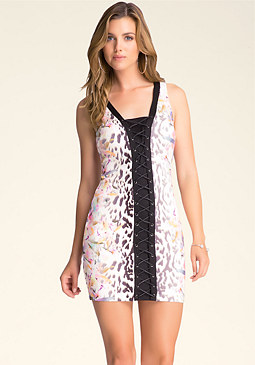 LACE-UP SLEEVELESS DRESS at bebe