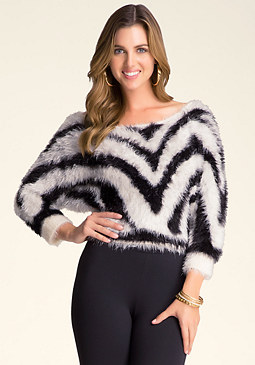 bebe Fuzzy Zebra Crop Sweater