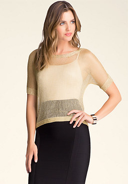 bebe Metallic Boxy Sweater