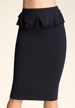 bebe Modern Peplum Midi Skirt