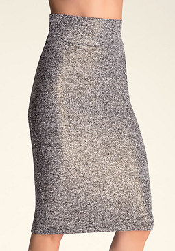bebe Tweed Zip Midi Skirt