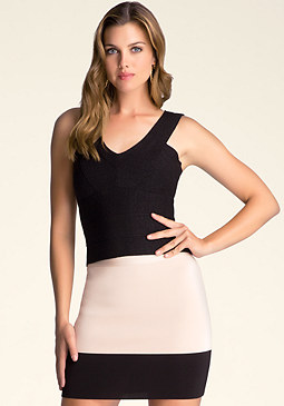 bebe Double V-Neck Bandage Top